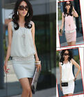 Elegant Sleeveless Chiffon Mini Dress One size #GF239