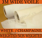 50 Metres White / Champagne Curtain Voile 300cm Wide FLAME RETARDANT
