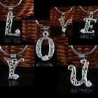 Clear Crystal Silver Plated Letter Words Charms Pendant
