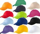 US BASIC 100% COTTON BASEBALL CAP HAT 8 COLOURS