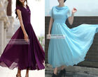 Elegant Short Sleeve Chiffon Dress Long Dress XS ~ 3XL #GF0273