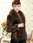 100% Real Genuine Mink Fur Fox Collar Coat Jacket Outwear Clothing Womens Deluxe