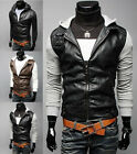 New Mens Stylish Slim Fit PU Leather Coat Jackets  hoodies 3 Color 4size E411