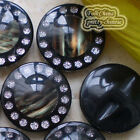 Nobby Black 30mm Round Glitter Acrylic Resin Buttons Sewing Craft #084