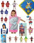 NEW CHILDRENS / BOYS / GIRLS FOOTBALL / NOVELTY / CHARACTER HOODED PONCHO TOWELS
