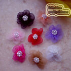 Mixed Soft Organza Flower With Cluster Beads Sewing Scrapbooking Appliques JM9O
