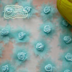 Blue Organza Flower With Rose 30mm Sewing Scrapbooking Appliques JMOR