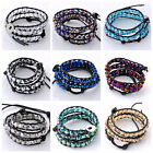 10 Colors Fashion 6mm Crystal Glass Beads Leather Wrap Cuff Bracelet Woven