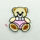 Pink Nappy Bear Sew/Iron On Patches 23mm R0407