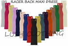 WOMENS LADIES JERSEY MUSCLE RACER BACK MAXI LONG VEST DRESS-SIZE 8,10,12,14-BNWT