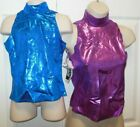NWT Mock turtleneck pullover tops metallic foil dance drill gym cheer Show