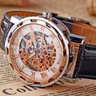 Mens Skeleton Transparent Mechanical Leather Sport Wrist Watch Gift