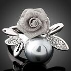 Swarovski Crystal Pearl Rose White Gold GP Finger Ring