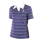 Adidas women's blue green white striped cap sleeved adipure tennis polo shirt