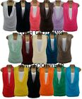 WOMENS COWL NECK WITH VEST INSERT SLEEVELESS T-SHIRT TANK TOP-UK SIZE 8-26
