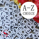 White Square Alphabet Letter Acrylic Plastic 7mm Beads A-Z 37C9129