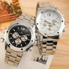 KS Stainless Steel Mens Military 6 Hands Automatic Mechanical Watch + Gift Box