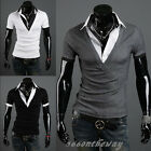 NEW Mens Casual Slim Fit Polo Shirt T-shirts Tee Shirt E624 4SIZE 3COLOR