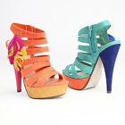 MOGAN SHOES Color Block Platform HIGH HEEL SANDAL Stylish Feather Peep Toe Pumps