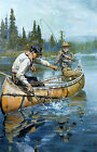 Philip R Goodwin Men Fishing in Canoe  - Stretched Giclee Canvas