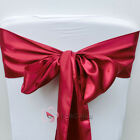 Burgundy Satin Chair Cover Bow Sash Wedding Party Decor Banquet WED-SCS-94