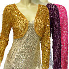 New Shinning Sequins Beads Long Sleeve Mini Jacket Cardi Shrug Bolero