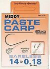 Brand New Middy Paste Carp Hooks to Nylon - All Sizes Available
