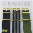 G10 NATO MILITARY WATCH STRAP GOLD HARDWARE