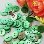 Green Round 11mm Mother Of Shell Buttons Sewing Scrapbooking Beads Craft MOPR09
