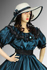 Victorian Style Summer Hat Wide Brim, Handmade in 4 Colors