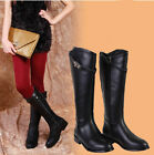 Women genuine leather knee high heeled riding boots