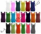 WOMENS PLAIN GATHERED FRONT SLEEVELESS STRETCH RUCHED VEST LONG TOP-UK SIZE 8-22