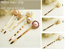 1 Golden Pearl Hair Clip Pin Barrette Jewellery Fashion Girl Accessories Bow Tie