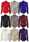 New Womens Plain Long Ruched Sleeve Blazer Ladies Fitted Button Jacket Size 8-14