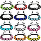 New Arrival High Quality Disco Glass Crystal Ball Beads Macrame Bracelet 8 Color