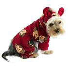 DOG CLOTHES Silly Monkey Fleece Dog Pajamas/Bodysuit Ears on Hood Red New XS-XL