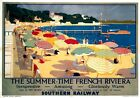 Summer-Time French Riviera. SR Vintage Travel Poster print by F Whatley