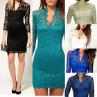 Awesome Women's Sexy V-neck Pencil Fit Mini Slim Lace Dress Cocktail Casul Party
