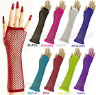 LONG FISHNET GLOVES FINGERLESS FANCY DRESS 1980'S NEON PUNK RAVE HEN NIGHT TUTU