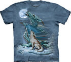 DRAGON WOLF MOON - Cotton T-Shirt - The Mountain Classic Blue Tie-Dye-10-3194