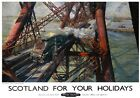 Scotland for Your Holidays Forth Bridge. BR Vintage Travel Poster art by T Cuneo