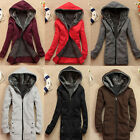 Womens Girls Hoodie Sweater Zip Long Thicken Warm Jacket Outerwear Hooded Coat