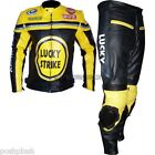 RED or Yellow Lucky Strike Racing Leather Motorcycle Jacket & Trouser Pant Suit