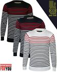 Soul Star Mens Crew Neck Jumper Slim Fit Striped Knit Knitwear Designer Top