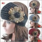 Real Feather Knitted warmer Knit hairband Headband Headwrap Peal shape Stylish