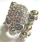 DIAMANTE CRYSTAL SUGAR SKULL RING DAY OF THE DEAD 3 COLOURS