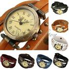 Retro Women Lady Weave Rivet Leather Strap Quartz Bracelet Wrist Watch Xmas Gift