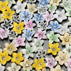 20Pcs Ceramic Lily Flower Clear Rhinestone For 3D Nail Art Tips DIY Decorations