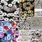 Colorful Crystal Rhinestone Wavy Flower Ball Loose Spacer Bar Bead Disco Hip Hop