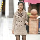 Women Lady Double-Breasted Long Trench Jacket Leopard Scarf Coat Outwear Outcoat